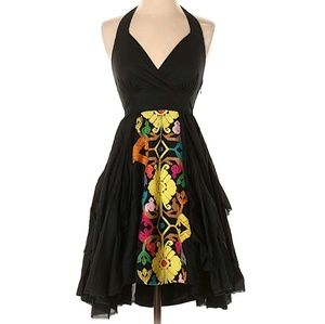 Floreat Palenque Dress XS embroidered halter party